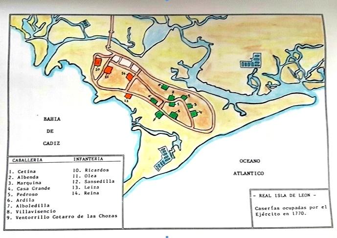 Distribución de las caserías isleñas ocupadas por el Ejército en 1770.