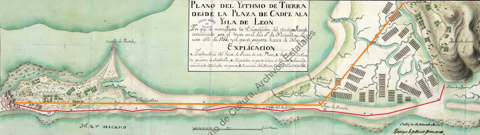 El arrecife que destrozó el tsunami (rojo) en un plano levantado por el ingeniero Enrique Legallois y el trazado (amarillo) de uno nuevo que no se materializó entonces. Archivo General de Simancas.