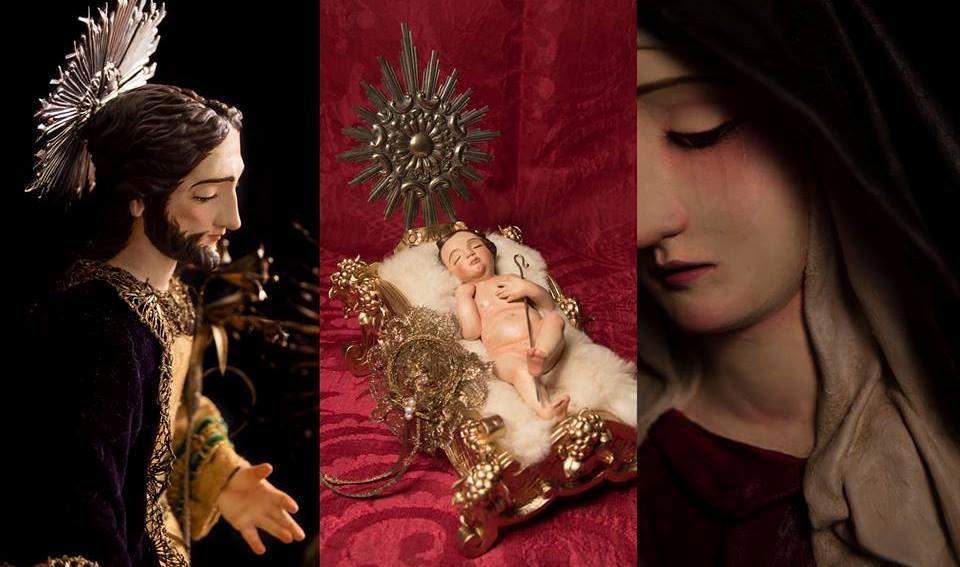 Algunas de las miniaturas religiosas realizadas por el entrevistado.