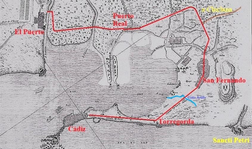 Distintos núcleos de la Bahía en un antiguo mapa.