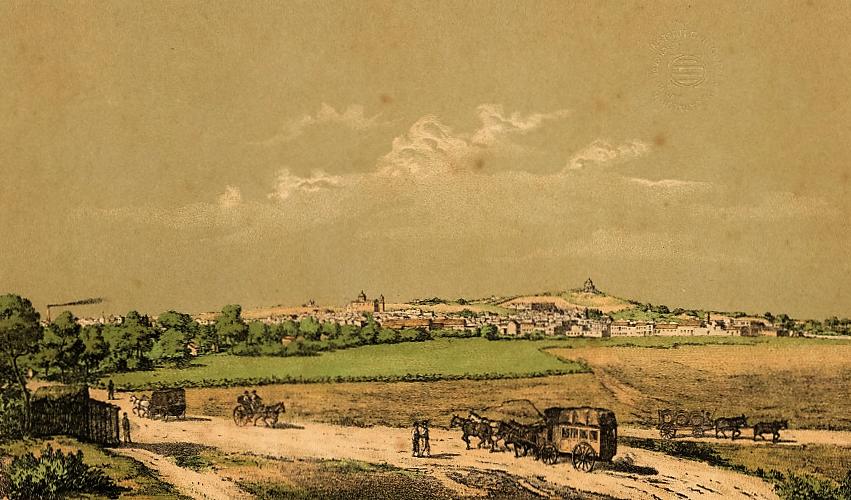 Chiclana desde el camino del Zurraque. A la izquierda, la caseta del Portazgo. Grabado de la Litografía Alemana, hacia 1870.