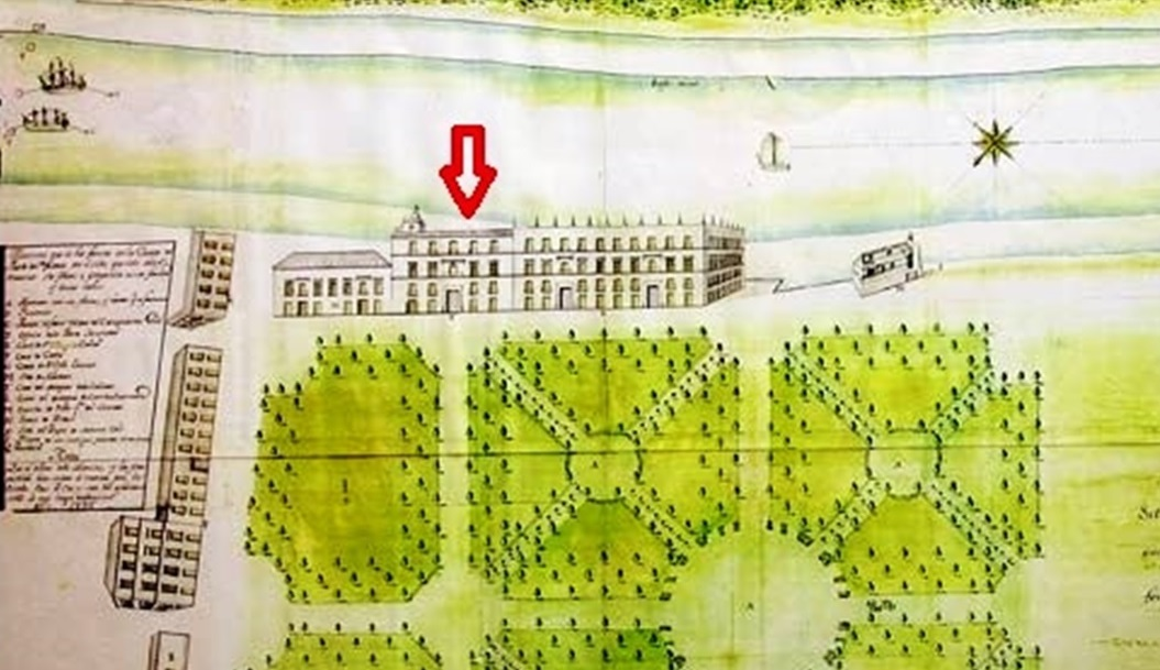La casa de los marqueses de la Cañada en un plano de 1755. Archivo General Militar de Segovia.