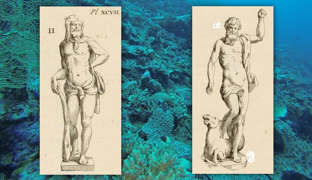 El Hércules y el Neptuno de Sancti Petri en dibujos que trazó de nuevo el conde de Caylus.