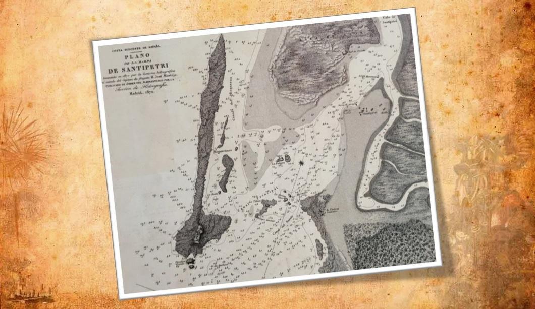 El entorno de Sancti Petri en un plano levantado en 1870. Instituto Geográfico Nacional de España.