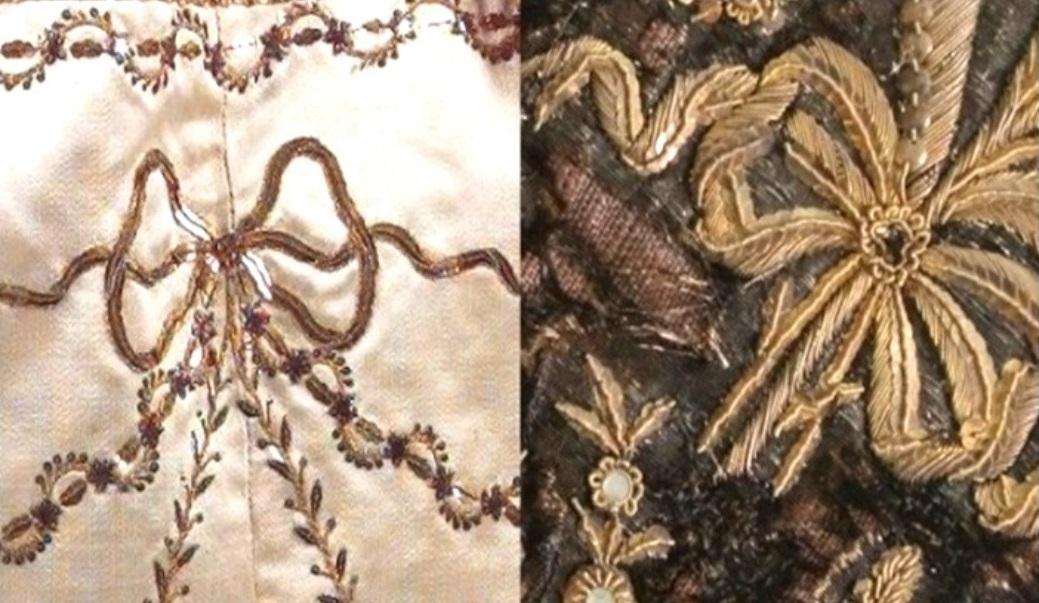 Comparativa entre la lazada de un vestido 'a la francesa' del Centro de Documentación Textil de Tarrasa y otra del hábito.
