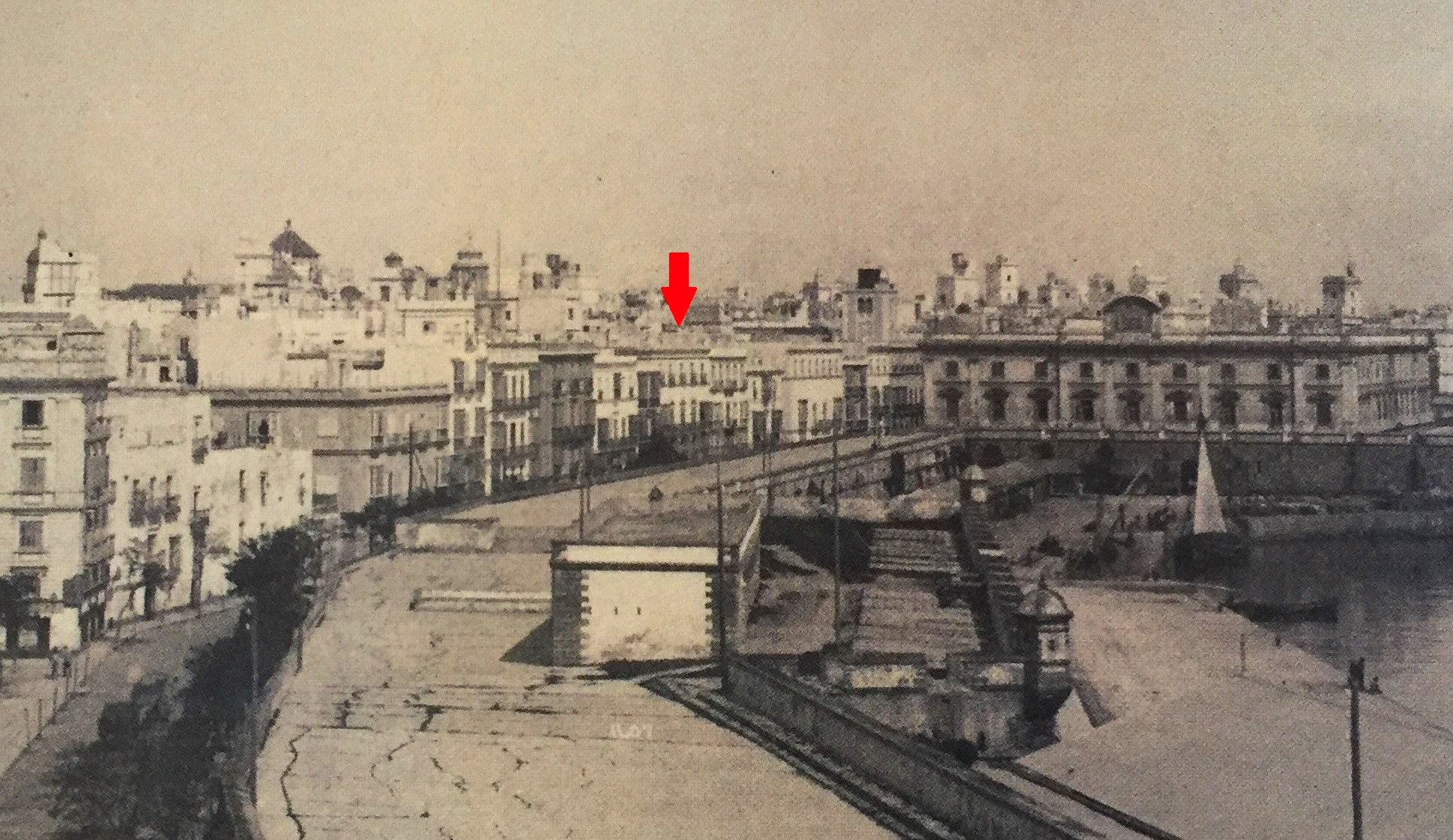 Residencia de Sebastián Martínez en Cádiz, frente a la Aduana, hacia 1887. Colección de Rafael Garófano (detalle).