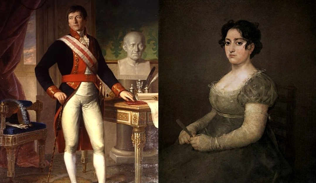 Catalina Martínez Errecarte, hija de Sebastián Mtnez. (Dcha.), retratada por Goya hacia 1810. Museo del Louvre (Dcha.) y su esposo, Fernando Casado de Torres (Izda.), por Errecarte. Museo Naval de Madrid.