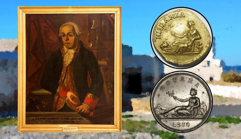 Pedro Alonso de O'Crowley retratado por Pablo de Castro en 1855 a encargo del Ayuntamiento gaditano. / Alegoría de Hispania en una moneda de Adriano y en una acuñación de 1870.