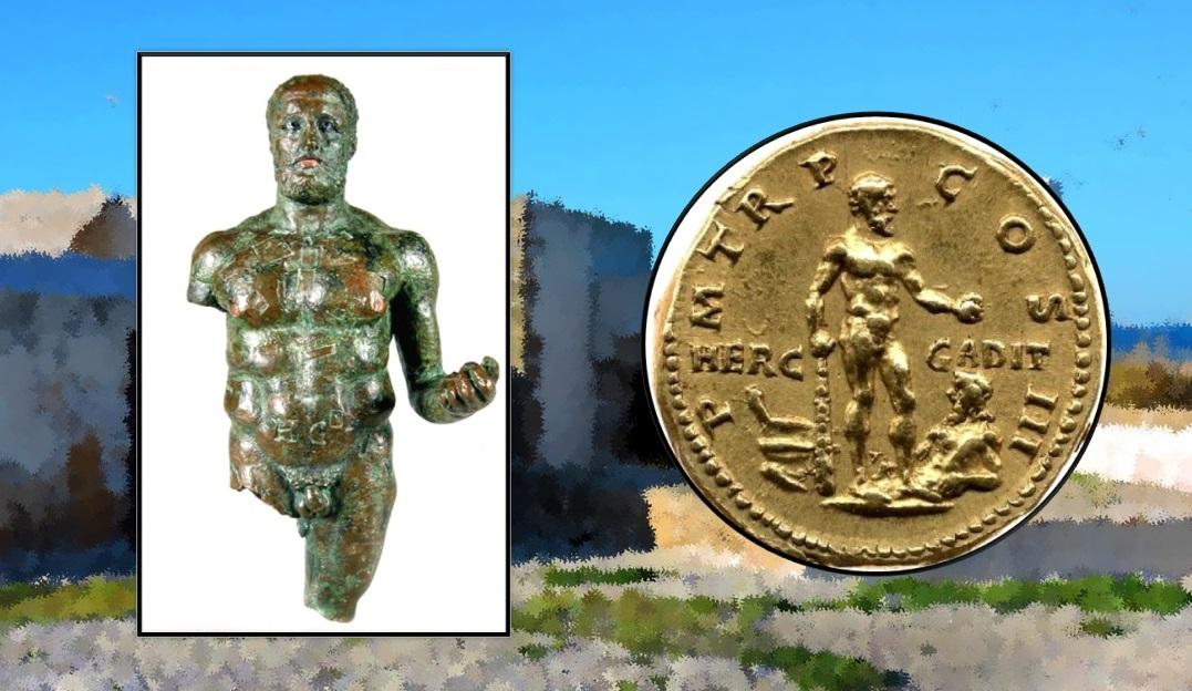 Hércules Gaditano (22 cm). Museo Provincial de Cádiz. / Áureo de Adriano emitido en Roma (119-122 d.C.) con la figuración del Hércules Gaditano. British Museum.