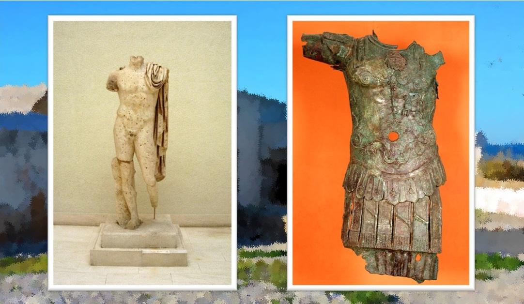 Emperador romano de Sancti Petri. Museo Provincial de Cádiz / Estatua thoracata hallada en los bajos de Rompetimones en 1925. Museo Provincial de Cádiz.