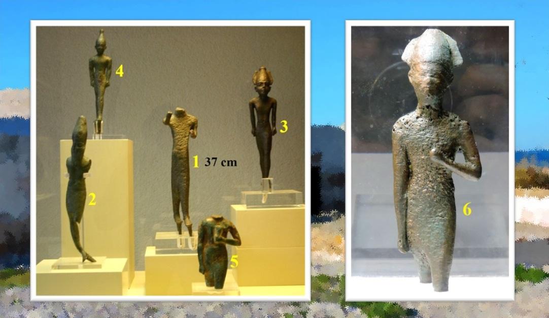 Exvotos fenicios (siglos VII-VI a.C.) hallados en el bajo de Rompetimones, en Sancti Petri. Museo Provincial de Cádiz y Museo Municipal de San Fernando (nº 6).