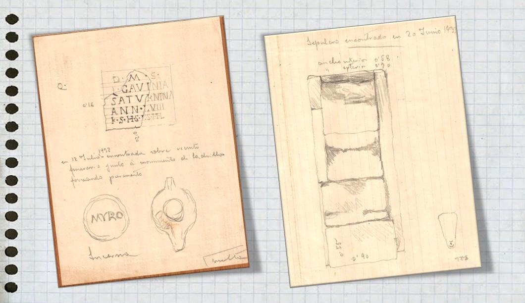 Dibujos de Pelayo Quintero con motivo de algunas excavaciones.