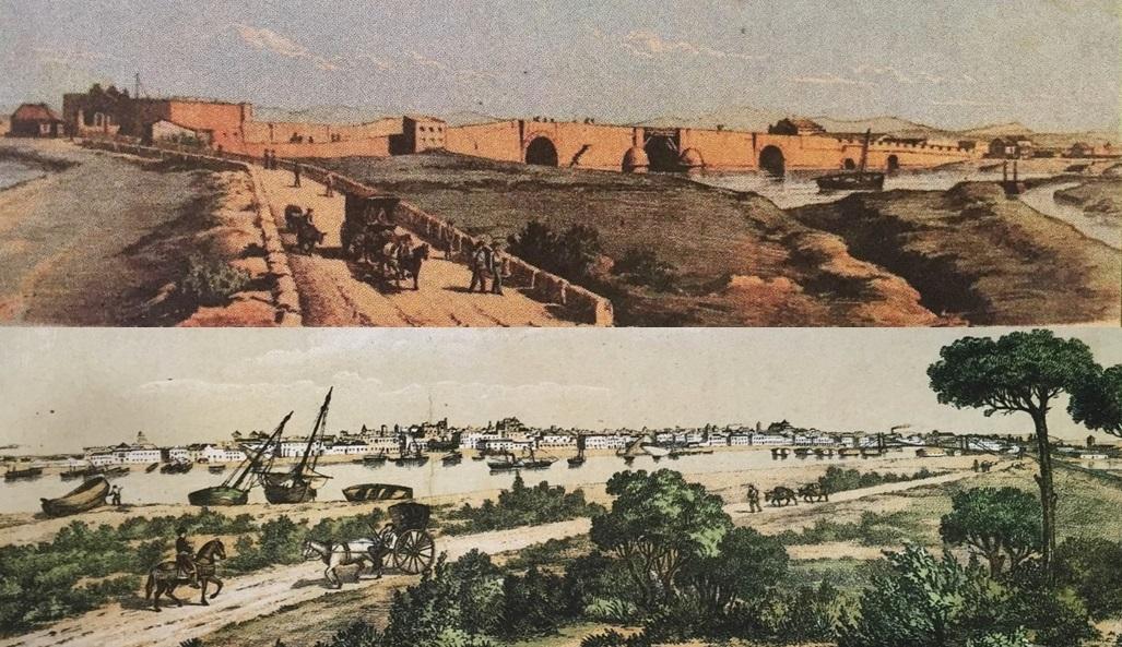 El Camino Real en las inmediaciones del Puente Suazo (Arriba) y su paso por el Coto de la Isleta de El Puerto (Abajo). Grabados de la Litografía Alemana, hacia 1870.