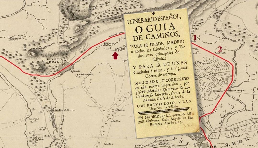 El Camino Real entre La Isla y Puerto Real: Ventas del Arrecife (1), de Afuera (2) y Caño de San Rafael en un plano levantado hacia 1808.