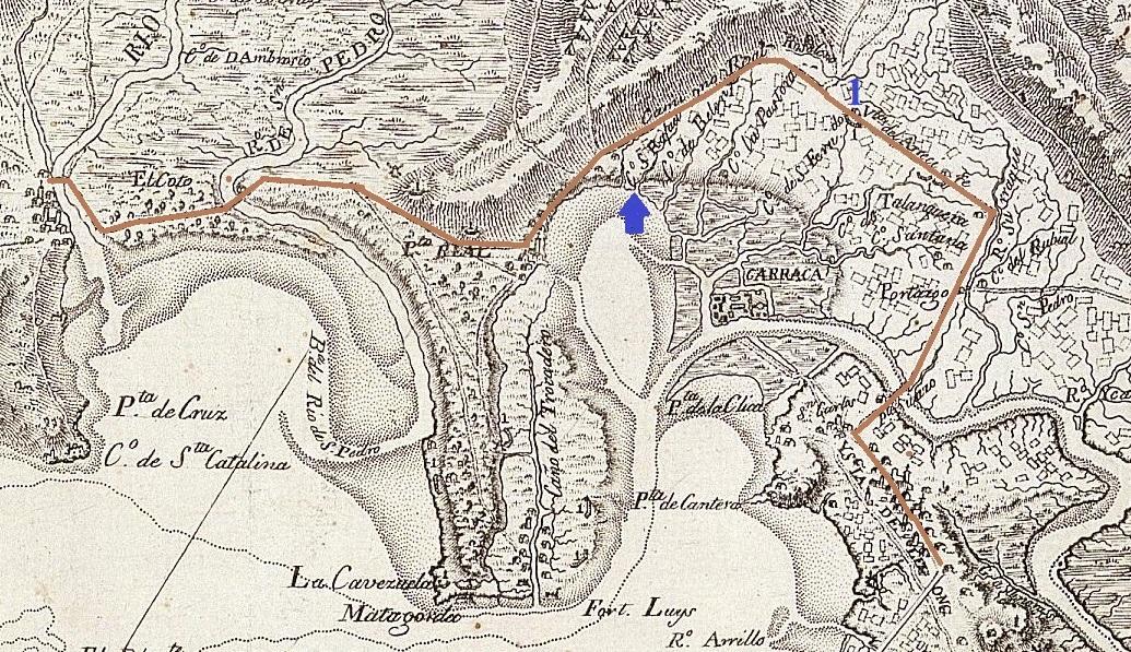 Plano de 1809 con la situación de la Venta del Arrecife y el Caño de San Rafael.