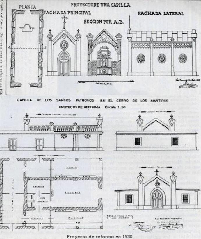 Plano de reforma de la capilla del Cerro de los Mártires (1930).