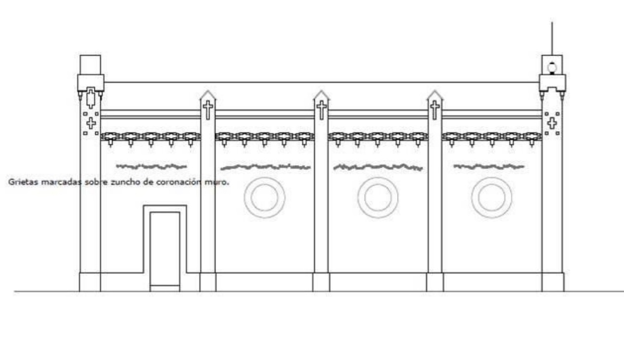 Grietas marcadas sobre zuncho de coronación muro.