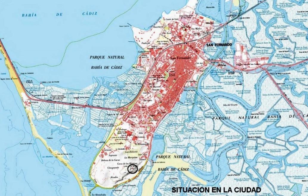 Situación en el término de San Fernando, con relación a la ciudad.