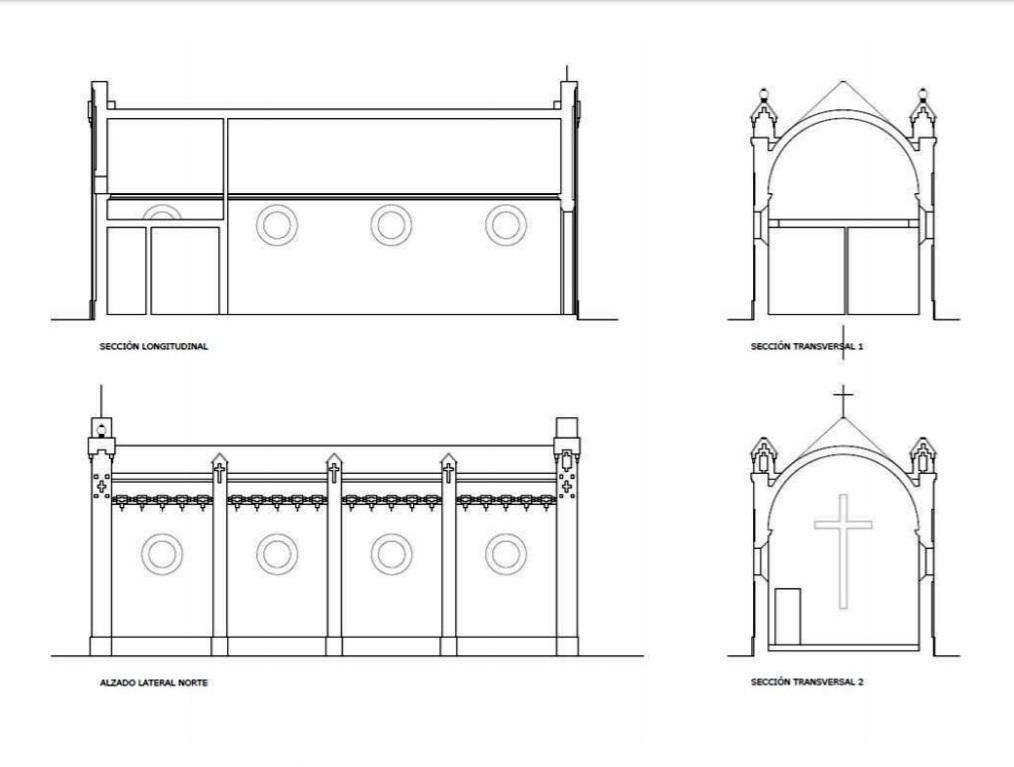 Sección longitudinal, alzado lateral norte y secciones transversales.