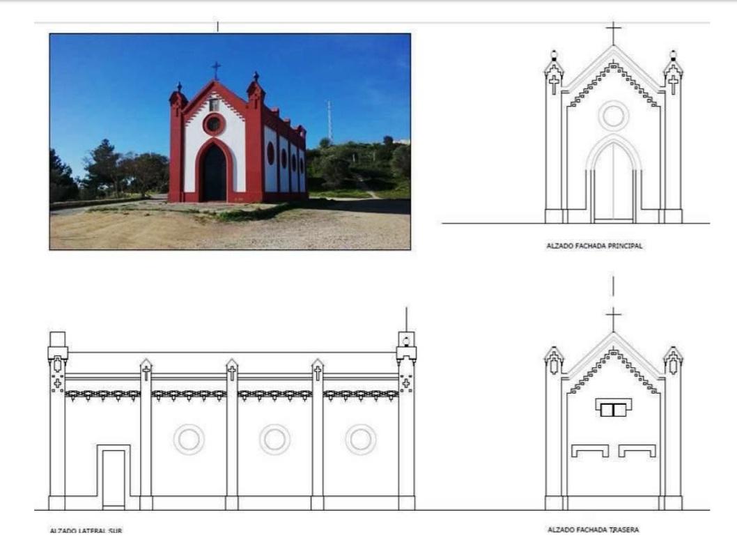 Alzados lateral sur, fachada principal y fachada trasera.
