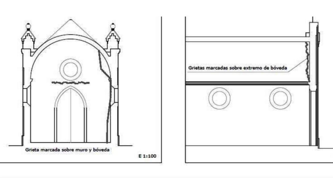 Grieta marcada sobre muro y bóveda y grietas marcadas sobre extremo de bóveda.