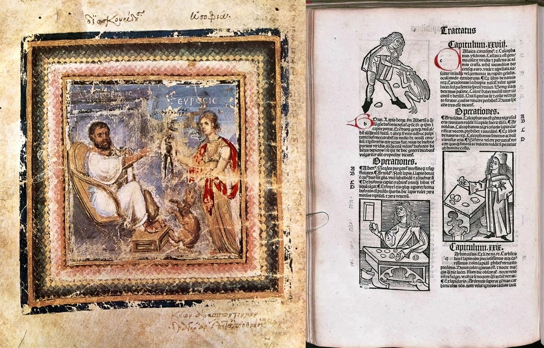Dioscórides en un manuscrito de 'De materia medica', siglo VI. Biblioteca Nacional de Viena / Página del 'Hortus sanitatis' de J. de Cuba, hacia 1497.