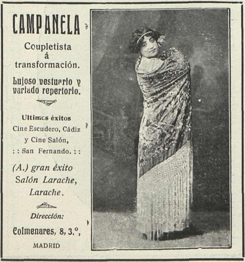 Esta artista era natural de San Fernando y debutó con solo 16 años en el Cine Salón en el año 1914.
