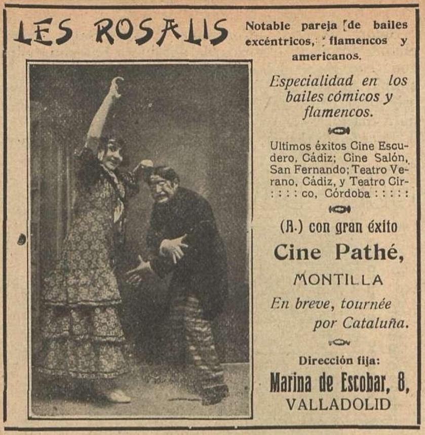 Les Rosalis llegaron al Cine Salón en 1914, y presumían de ello en sus anuncios como puede comprobarse.