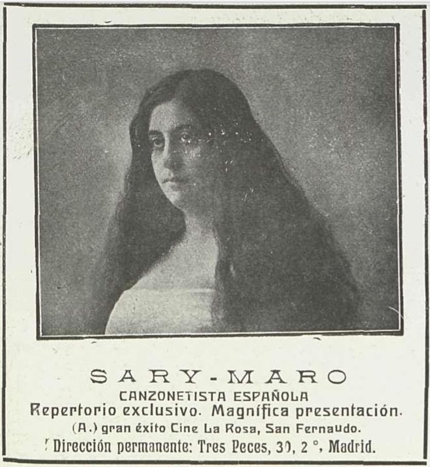 La canzonetista Sary-Maro actuó en el nuevo Cine La Rosa en noviembre de 1912.