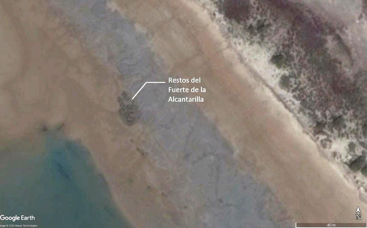 Figura 3. Vuelo satelital de Google Earth de 2016, donde se observa una mancha de color verde, que corresponden a los restos del Fuerte de la Alcantarilla.
