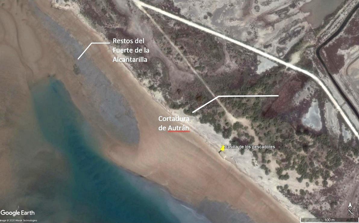Figura 4. Vuelo satelital de Google Earth de 2016, donde se puede comparar la distancia entre los restos del Fuerte de la Alcantarilla y la marca geológica dejada por al Cortadura de Autrán.