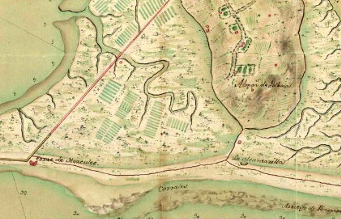 Figura 2. Plano militar de 1770 en el que se muestra la ubicación del nuevo Fortín de la Alcantarilla.