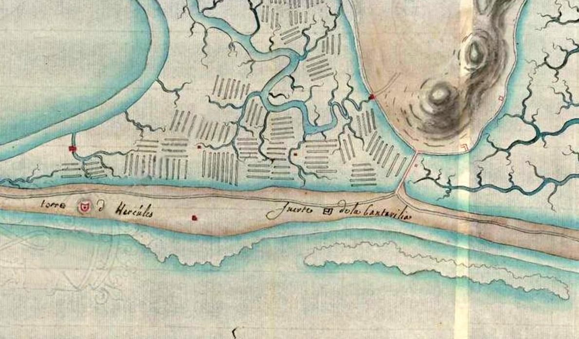 Figura 1. Plano cartográfico militar de 1739, de autor desconocido, donde se muestra la ubicación del Fuerte de la Cantarilia o Fuerte de la Alcantarilla.