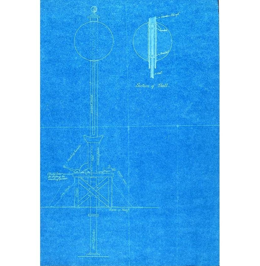 Planos de la instalación de la bola de señales horarias (1878).