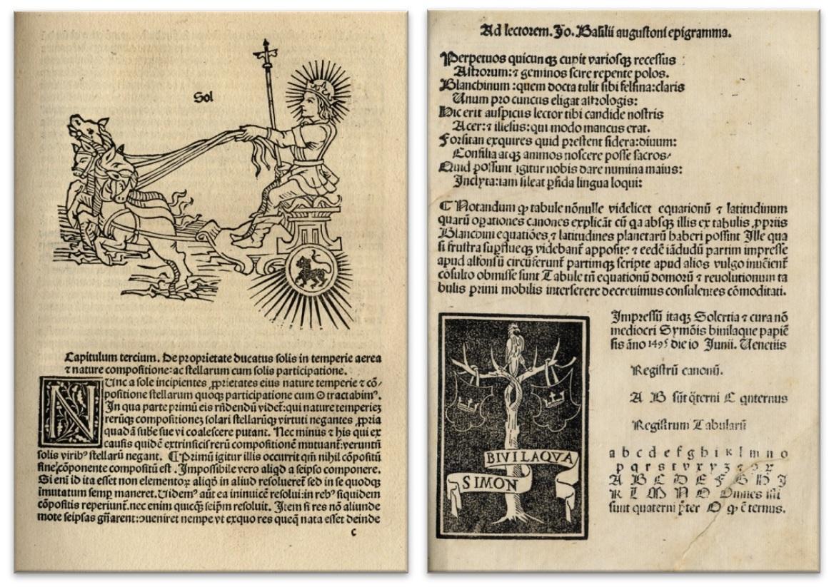 Izquierda: Introductorium in astronomiam (Augsburgo, 1489) / Derecha: Tabularum Ioannis Blanchini Canones (Venecia, 1495).