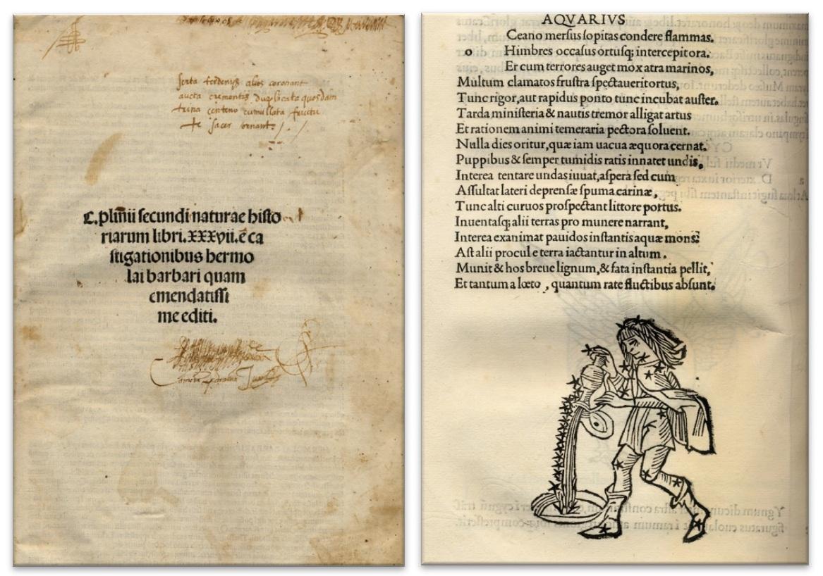 C.Plinii Secundi Naturae Historiarum Libri XXXVII (Venecia, 1499) / Astronomi veteres apud Aldum (Venecia, 1499).