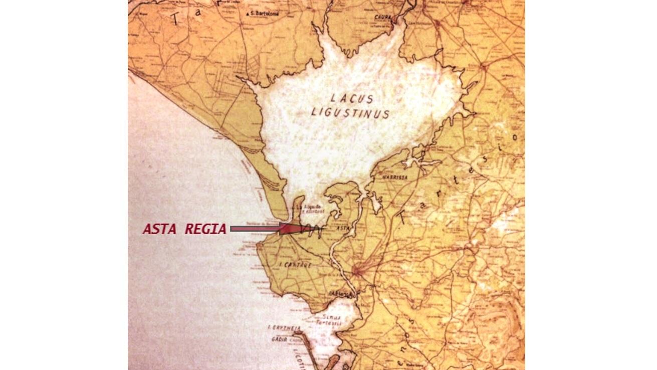 Superficie ocupada por el Lago Ligustino en torno al S. V. a.C. En el centro podemos la estratégica ubicación de Asta Regia.