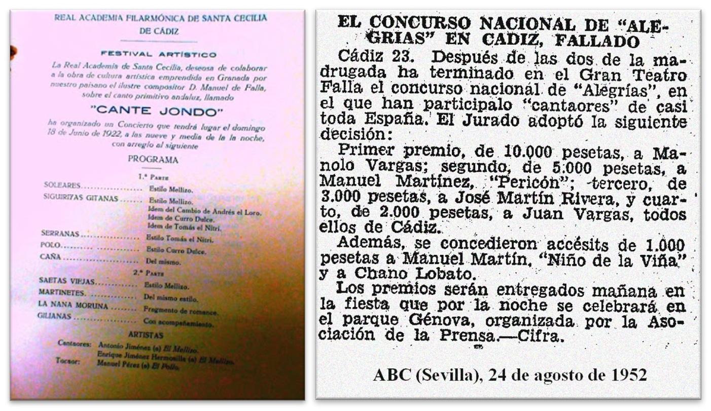Programa Santa Cecilia (Izda.) / Concurso nacional en Cádiz (Dcha.)