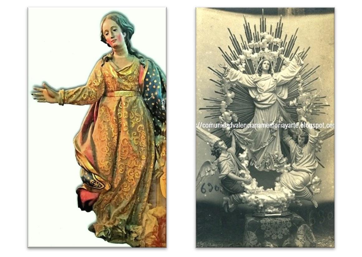 Primitiva imagen de Ntra. Sra. de la Asunción (Izda.) / ¿Asunción encargada por el padre Monjo en 1912? (Dcha.)