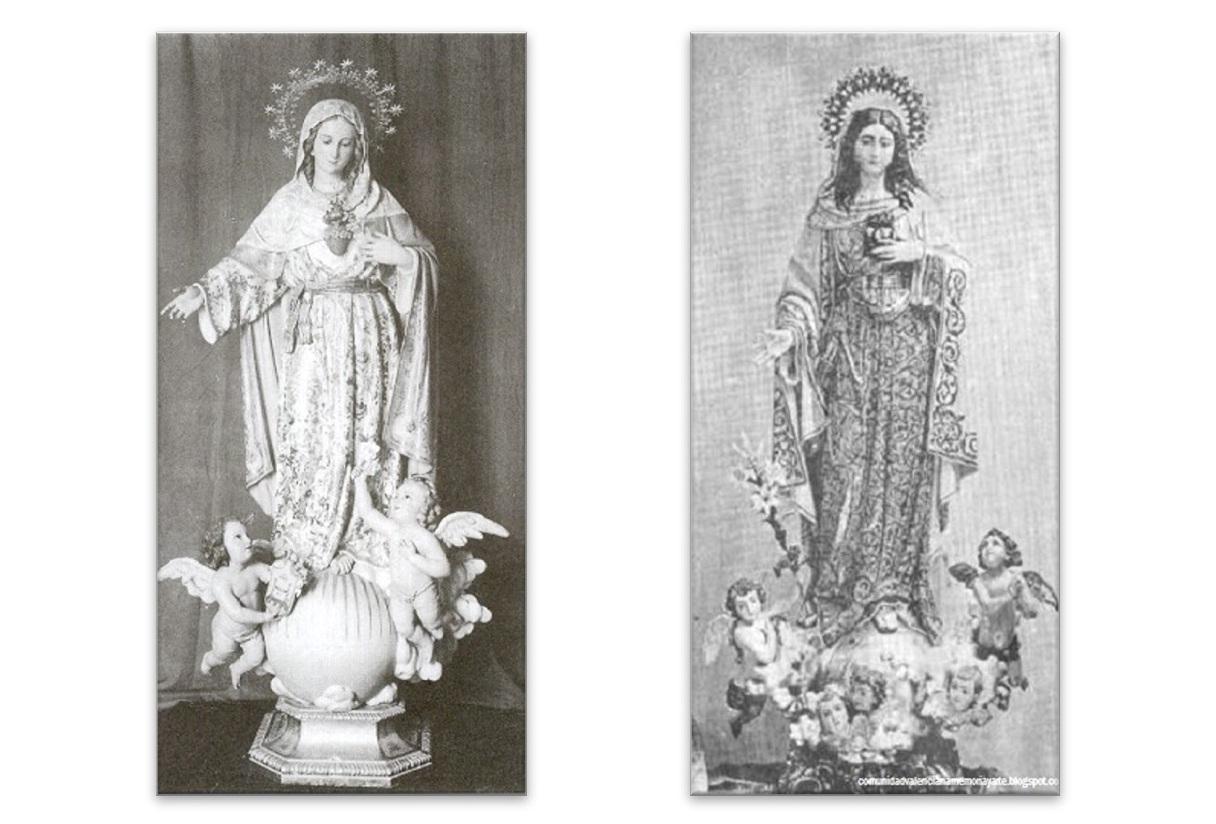 Imagen del Corazón de María en la ciudad de San Fernando (Izda.) / Imagen del Corazón de María procedente de los catálogos de Vicente Tena (Dcha.)